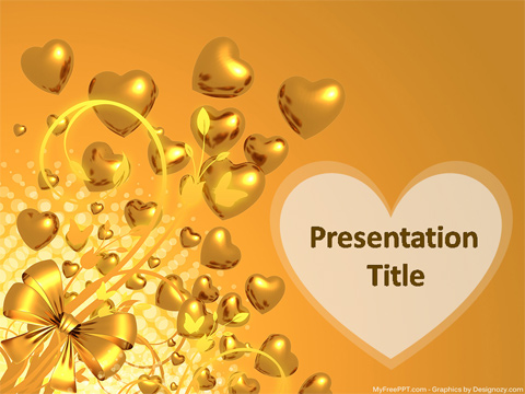 Golden Hearts PowerPoint Template