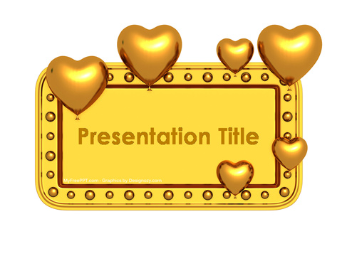 Golden Valentine Banner PowerPoint Template