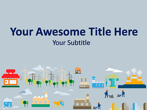 Free Town Building PowerPoint Template