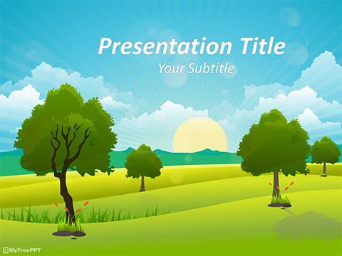 Free Sunrise Landscape PowerPoint Template