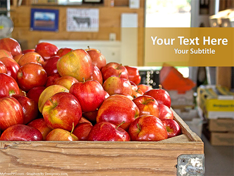 Free Apples in Basket PowerPoint Template