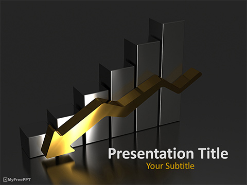 Business Graph Down PowerPoint Template