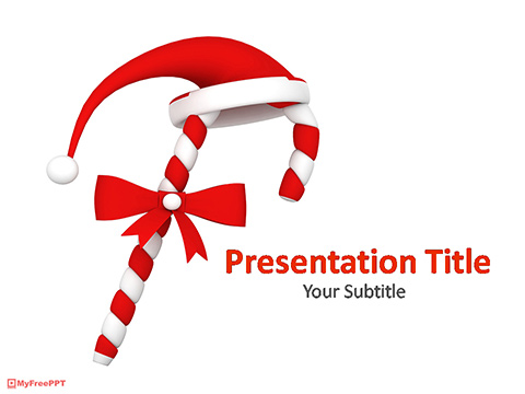 Christmas Candy Cane PowerPoint Template