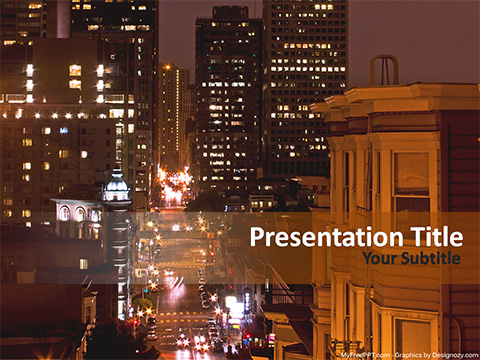 Free Metro City at Night PowerPoint Template