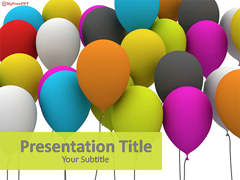 Free Colorful Celebration Balloons PowerPoint Template