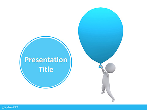 Flying with Balloon PowerPoint Template