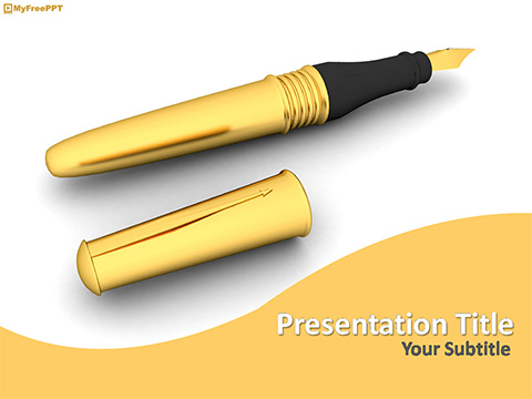 Free Fountain Pen PowerPoint Template