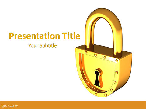 Free Gold Lock PowerPoint Template