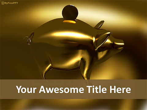 Free Gold Piggy Bank PowerPoint Template