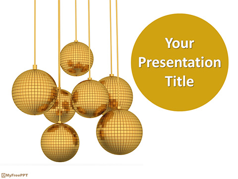 Free Golden Christmas Ornaments PowerPoint Template