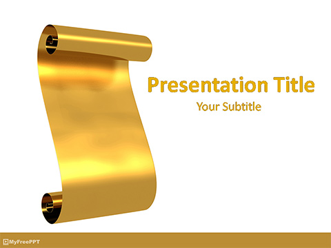 Golden Parchment Scroll PowerPoint Template