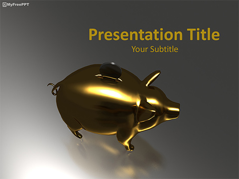 Golden Piggy Bank PowerPoint Template