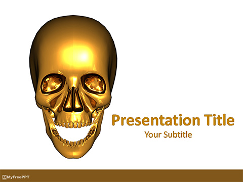 Free Golden Skull PowerPoint Template