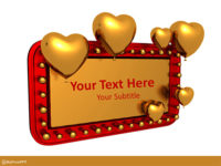 Free Golden Retro Love Banner PowerPoint Template