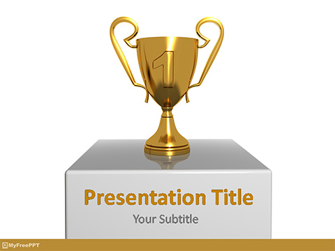 Free Golden Victory Cup PowerPoint Template