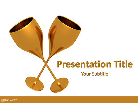 Free Golden Wine Glasses PowerPoint Template