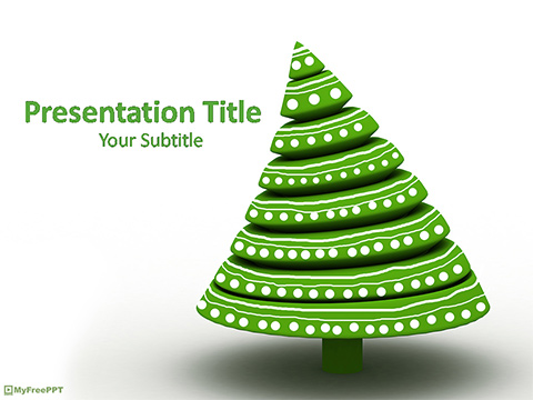 Green 3d Christmas Tree PowerPoint Template