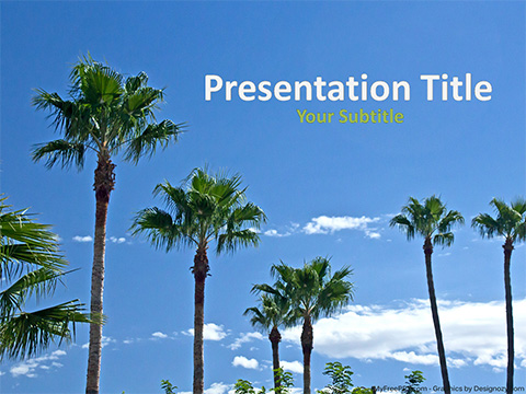 Free Beach Palm Trees PowerPoint Template