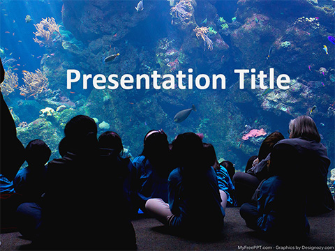 People Watching Aquarium PowerPoint Template