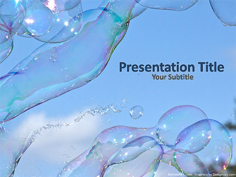 Free Shiny Water Bubbles PowerPoint Template